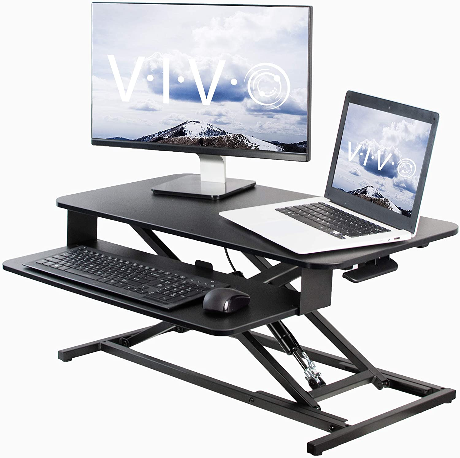 VIVO Black Height Adjustable 32 inch Economic Standing Desk Converter with Pneumatic Spring, Sit Stand Dual Monitor and Laptop Riser Workstation (DESK-V000S)