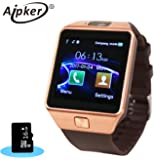 Aipker 1.56-Inch Touch Screen Smart Watch Phone with Camera for Andriod SmartPhones - Golden