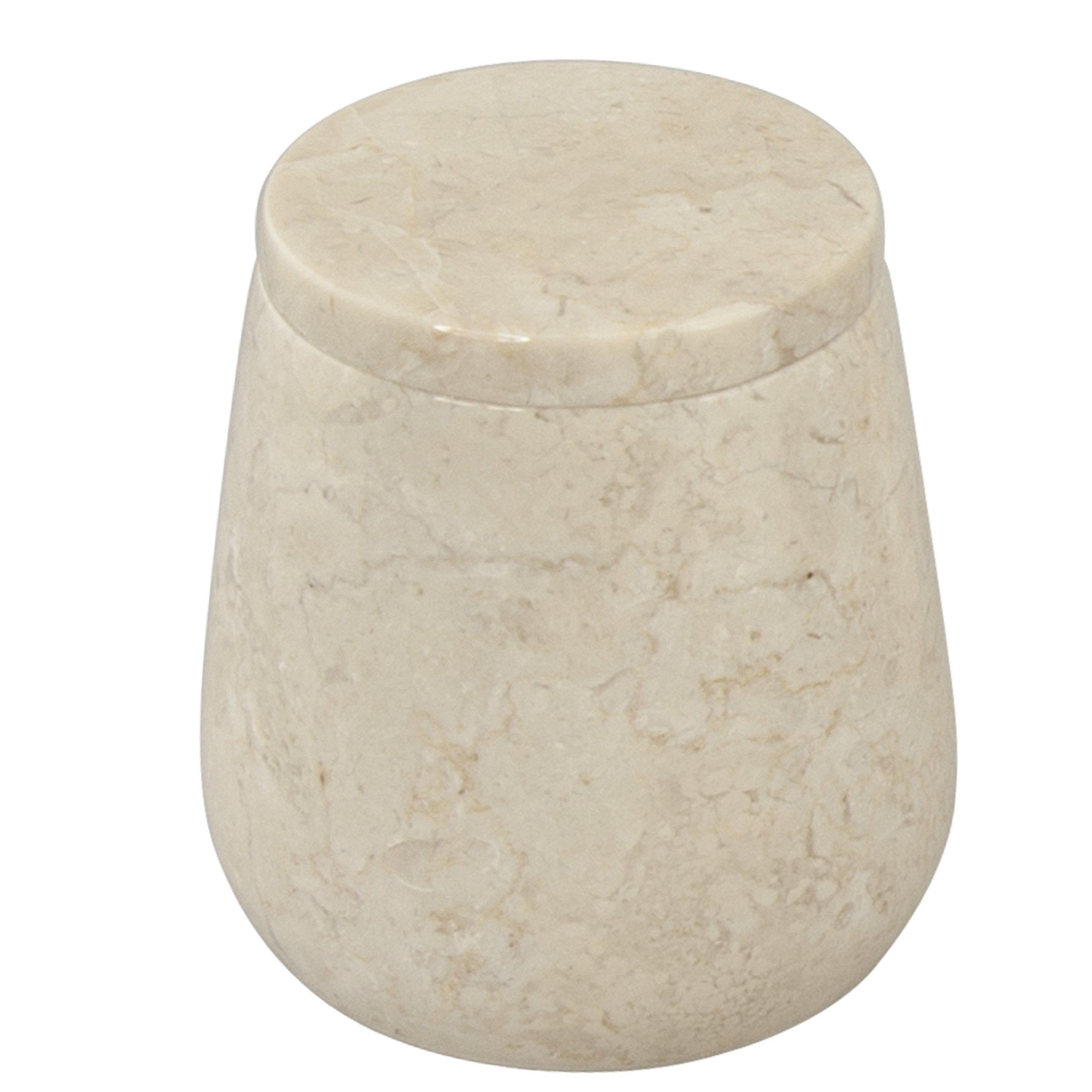 Creative Home 33032 Genuine Champagne Marble Stone Cotton Ball Holder,