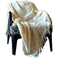 Woven Farmhouse Rustic Throw Blanket - Super Soft 100% Cotton Tassel Warm Decorative Throw for Sofa and Couch 50 by 60 inch