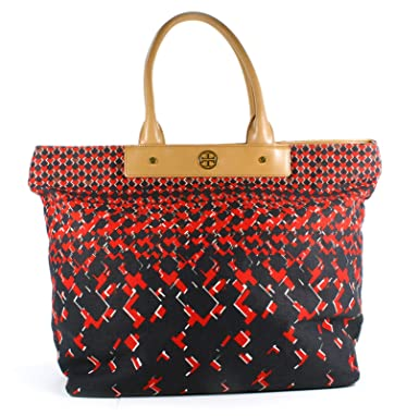 c7bab67d2db4 Amazon.com  Tory Burch Rozel Canvas and Leather Tote Bag - Sangria  Clothing