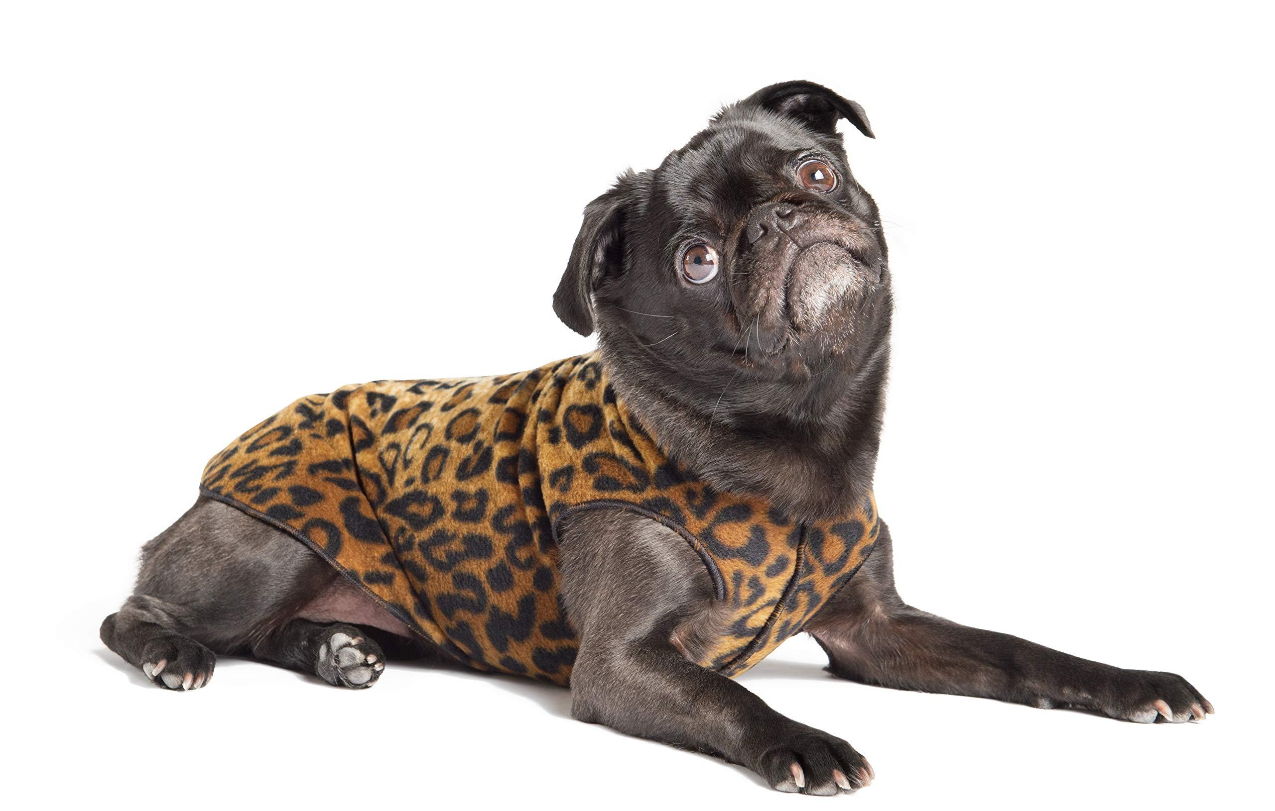 Gold Paw Stretch Fleece Dog Coat - Soft, Warm Dog Clothes, Stretchy Pet Sweater - Machine Washable, Eco Friendly - All Season - Sizes 2-33, Leopard, Size 8 by Gold Paw