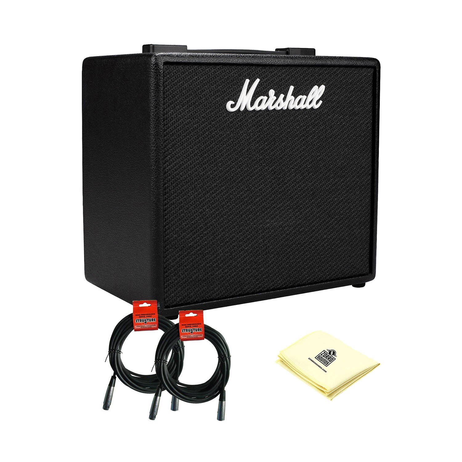 Marshall Code 25 - 25W 1x10'' Bluetooth/USB Digital Combo Amp with 2 XLR Microphone Cable and Zorro Sounds Amplifier Polishing Cloth