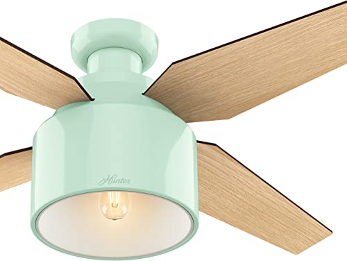Hunter 52 in. Contemporary Ceiling Fan in Mint with Dimmable LED Light Kit and Remote Control Renewed