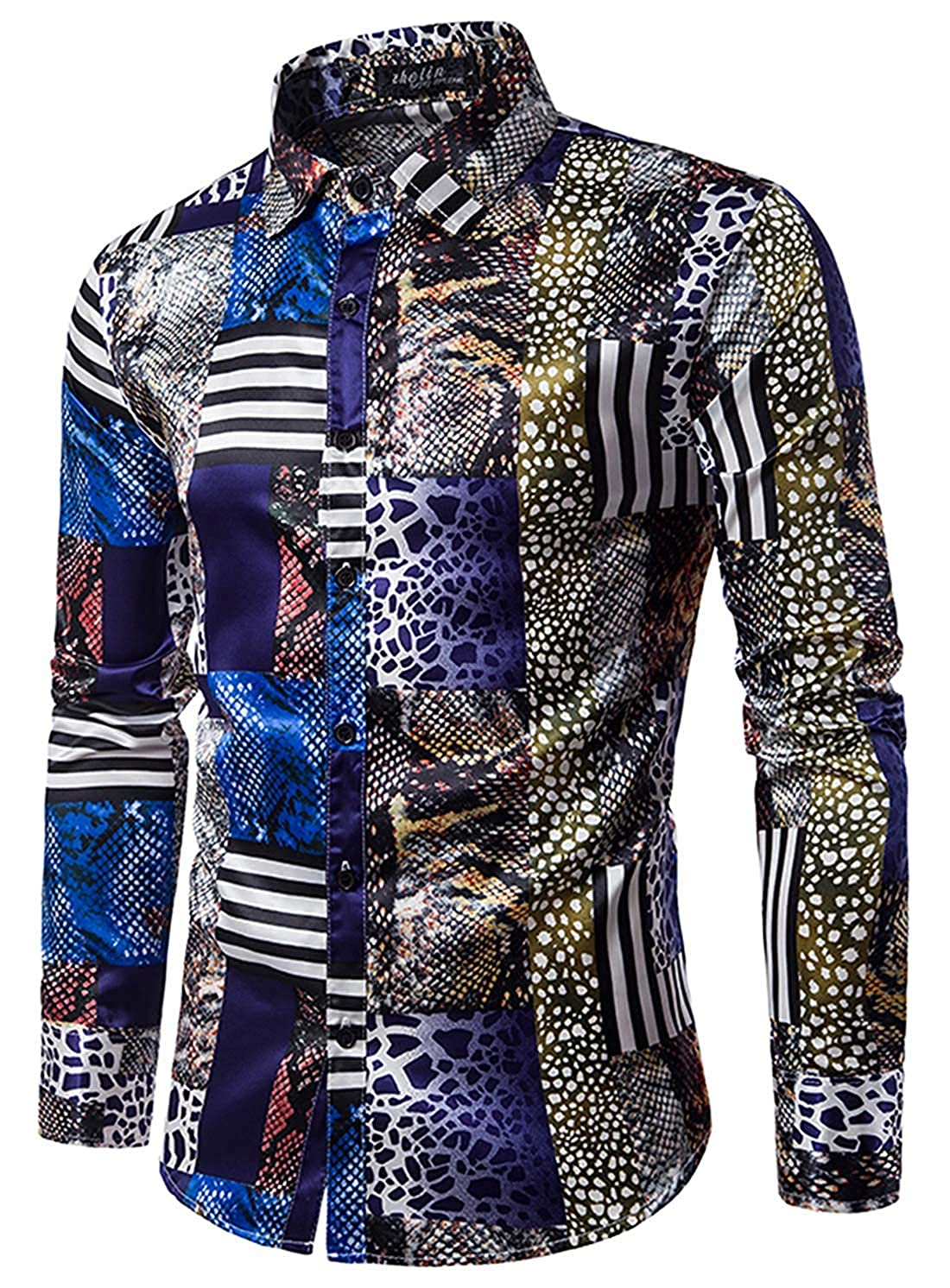 Mens Long Sleeve Printed Casual Regular Fit Button Down Dress Shirt for Ball