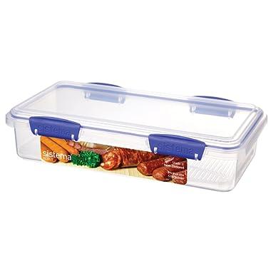 Sistema KLIP IT Utility Collection Deli Storer Plus Food Storage Container, 59.0 oz./1.7 L, Clear/Blue