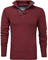 Charles Wilson Men's Button Neck Cotton Jumper with Chambray Placket