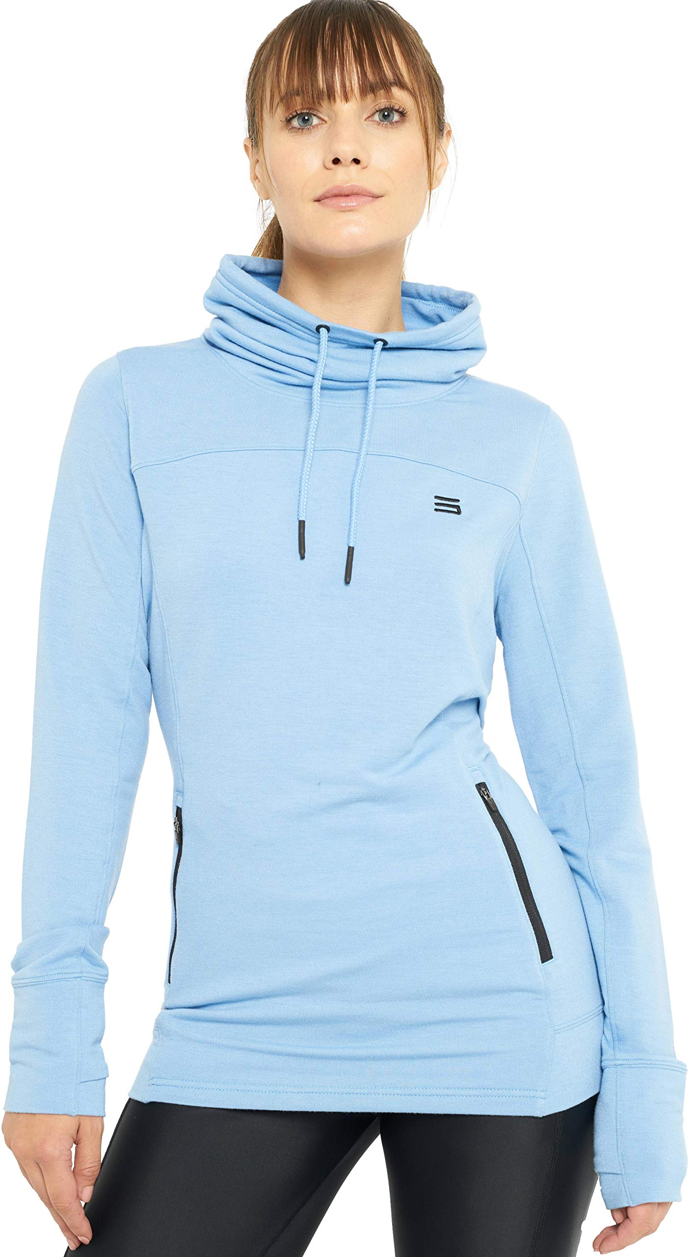 Three Sixty Six Dry Fit Pullover Sweatshirt for Women - Fleece Cowl Neck Sweater Jacket - Zip Pockets and Thumbholes Sky Blue by Three Sixty Six