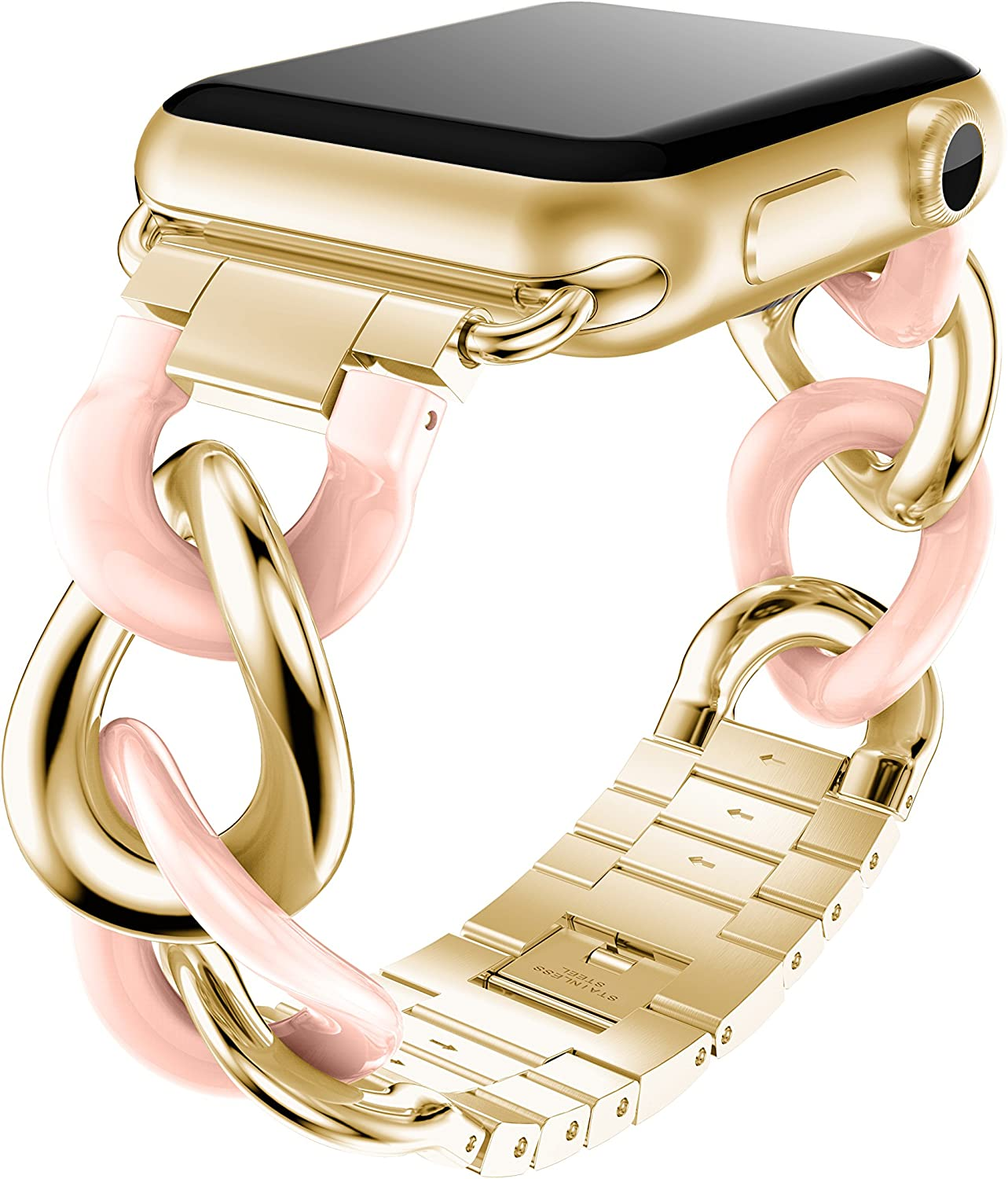 ANCOOL Compatible with Apple Watch Link Bracelet Series 6 Band Women Men, Stainless Steel Metal Link Wristband Replacement for Apple Watch Series 6 5 4 3 2 1