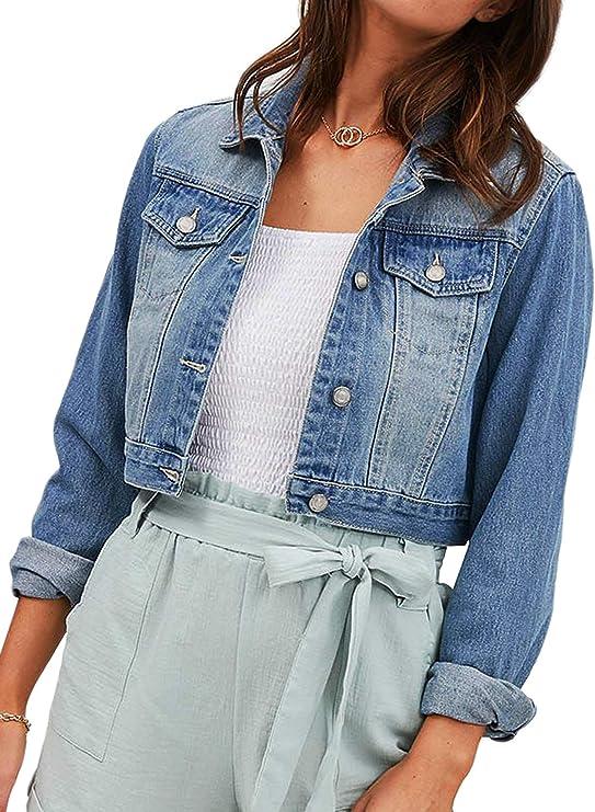Chaqueta de gran tamaño de mezclilla para mujer, chaqueta de jean clásica de manga larga