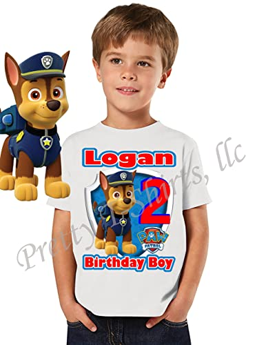 Chase Paw Patrol Birthday Shirt Custom With Any Name Age FAMILY Matching Shirts