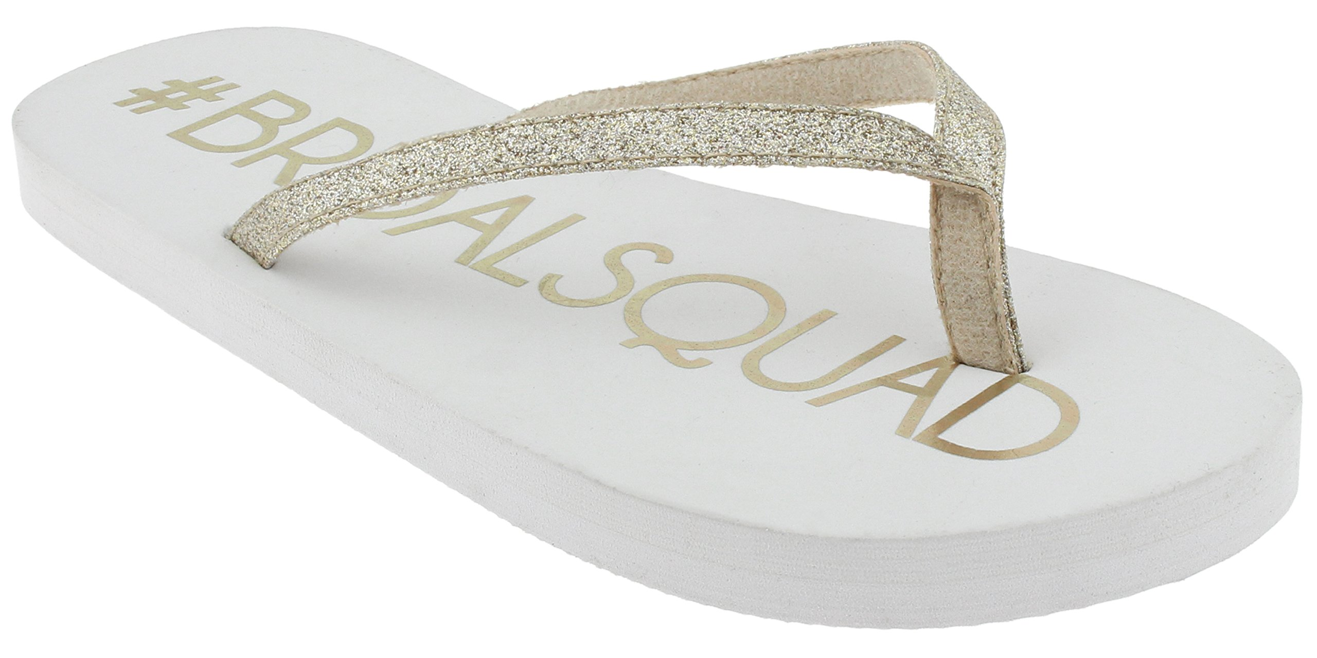 Capelli New York Ladies Fashion Flip Flops with Bridal Squad Print Gold Combo 10