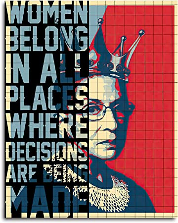 Home Decor Gift Feminist Gift RBG Quote Women Belong In All Places Where Decisions Are Being Made Inspirational Wall Art
