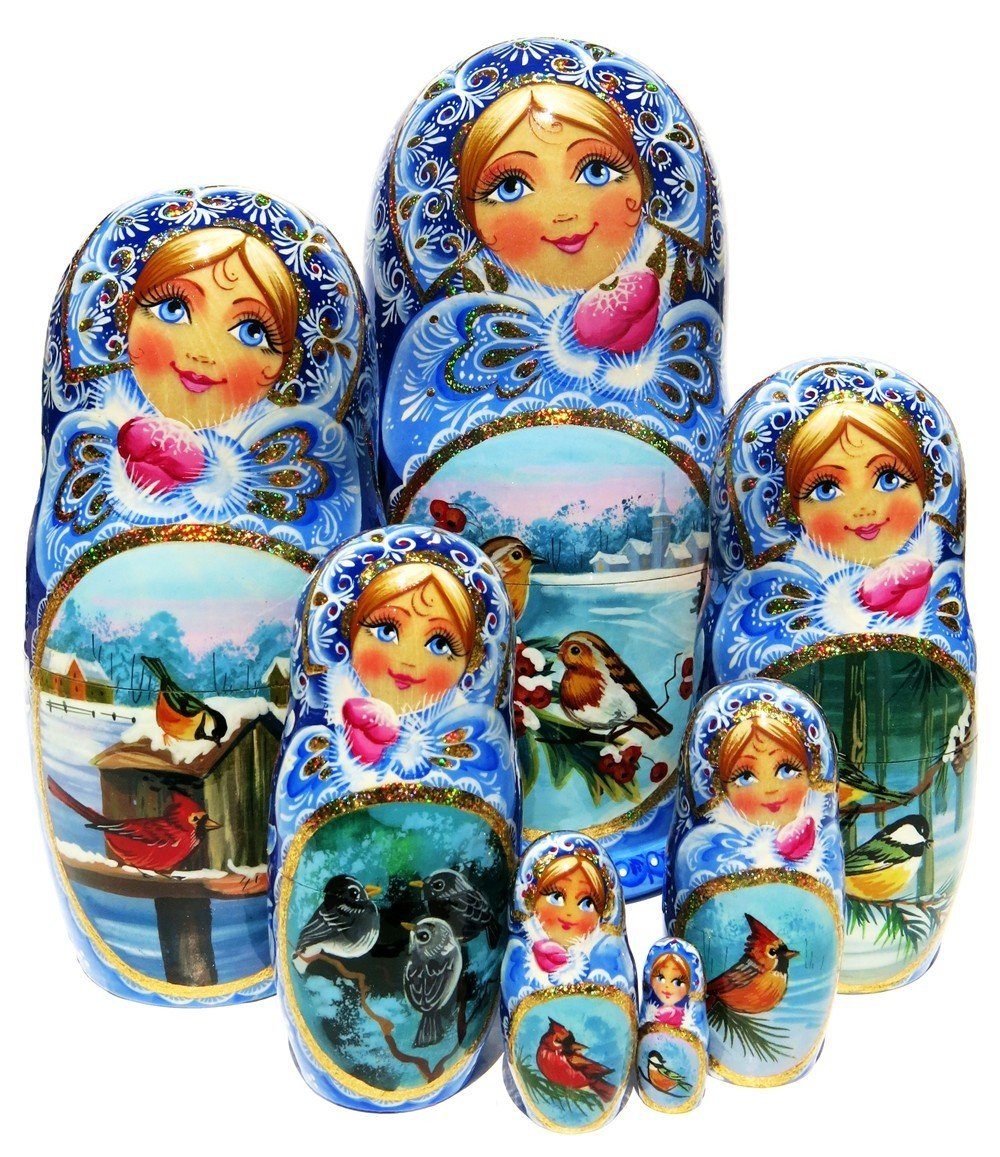 Birds 7-Piece Exclusive Russian Nesting Doll Wildlife Forest Nature Matryoshka One-of-a-kind Original Work Of Art Babushka By GreatRussianGifts. Signed by Artist.