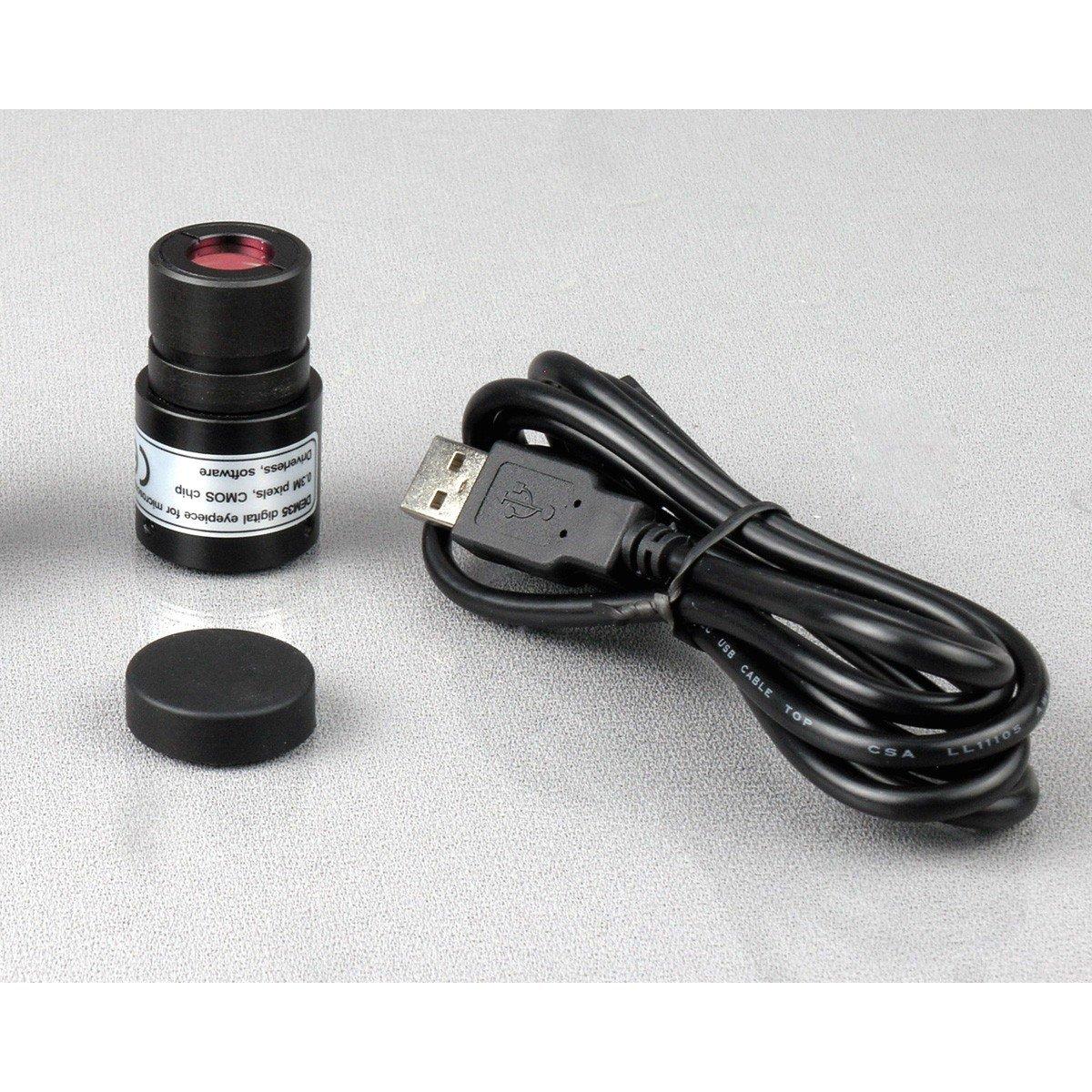 Book+Camera 40X-1000X Cordless Student Biological Microscope+Prepared /& Blank Slides