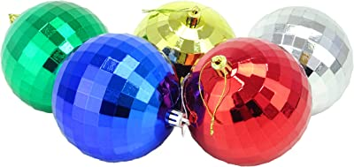 Christmas Concepts Pack of 5-100mm Christmas Tree Baubles - Shiny, Faceted Decorated Baubles (Multi Coloured)