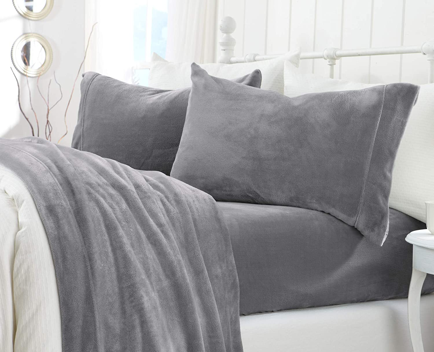 Extra Soft Cozy Velvet Plush Sheet Set. Deluxe Bed Sheets with Deep Pockets. Velvet Luxe Collection (Full, Grey)