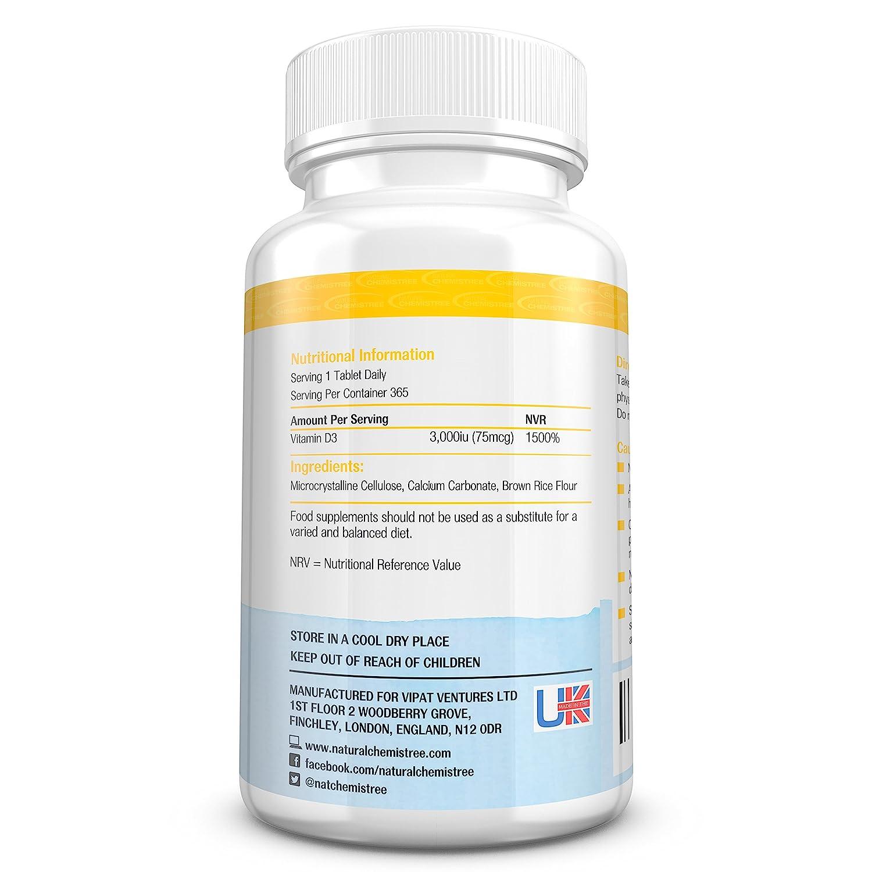 Pastillas de vitamina D 3000 UI de alta eficacia - Suministro para 12 meses (365 pastillas) - Pastillas de vitamina D3 colecalciferol fáciles de tragar ...
