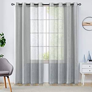 Linen Textured Gray Sheer Curtains for Living Room Bedroom Open Weave Sheer Voile Window Curtains Grommet Top Curtain Panels One Pair 108 Inch