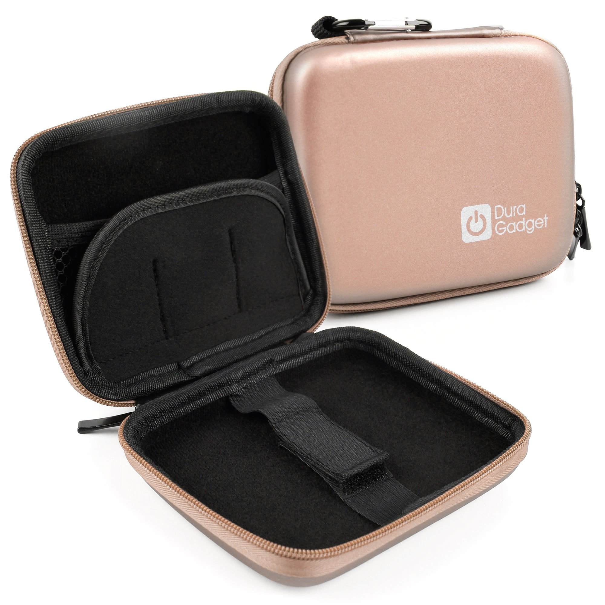 DURAGADGET Water Resistant Rigid Shell Case With Dual Zip & Belt Clip (Rose Gold) For Oregon Scientific ATC Chameleon Dual Lens by DURAGADGET