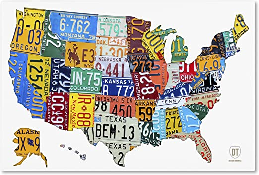united states map license plates Amazon Com License Plate Map Usa 2 By Design Turnpike 16x24 Inch