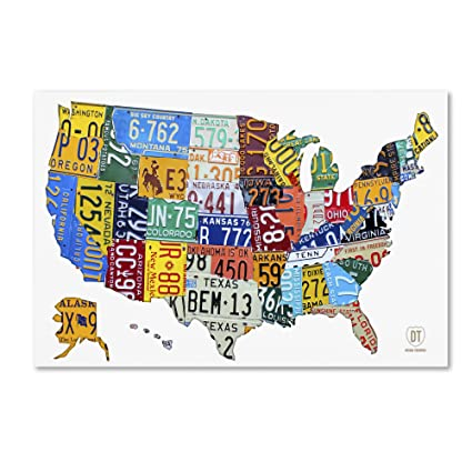 License Plate Map USA 2 by Design Turnpike, 16x24-Inch Canvas Wall Art