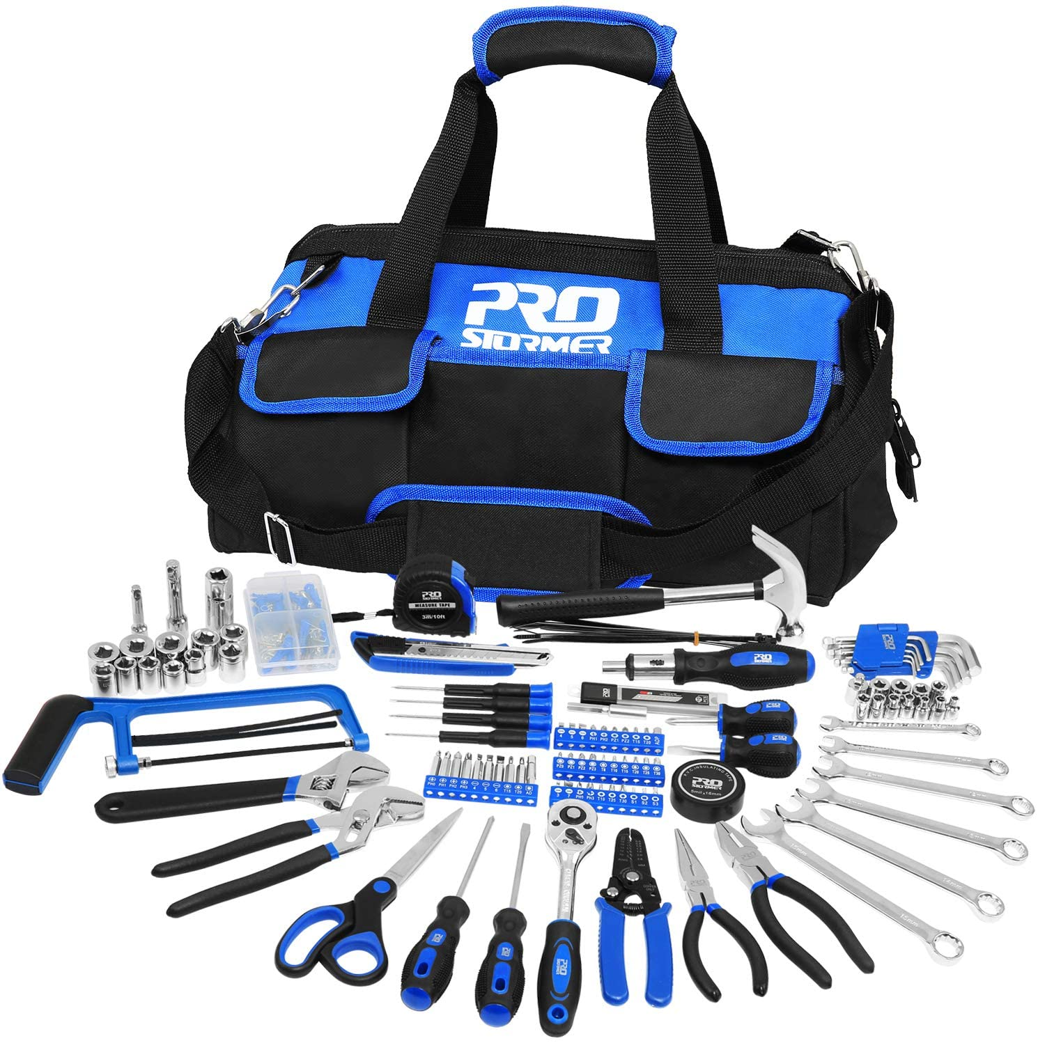 198-Piece General Household Hand Tool Set, PROSTORMER Multi-Purpose Home Repairing Tool Kit with Easy Carrying Tools Bag for DIY and Home Maintenance