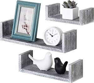 MyGift Set of 3 Wall-Mounted Barnwood Gray U-Shaped Floating Shelves