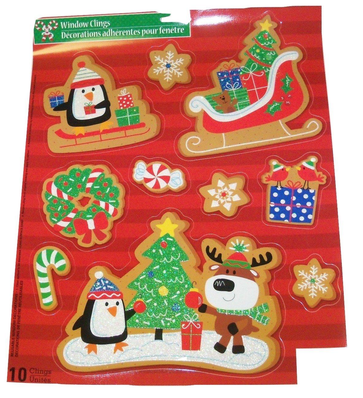Christmas Reusable Glitter Window Clings ~ Forest Animal Celebration (10 Clings, 1 Sheet)