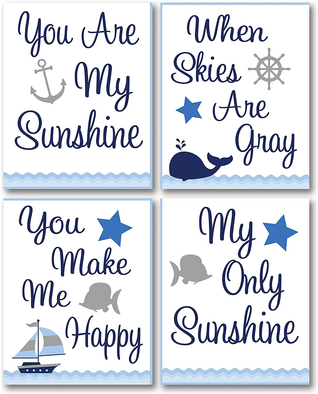 """Adorable Blue and Grey Nautical """"You Are My Sunshine...You Make Me Happy When Skies Are Grey"""" Paper Panel; Child's Room or Nursery Decor; Four 8x10in Unframed Paper Posters"""