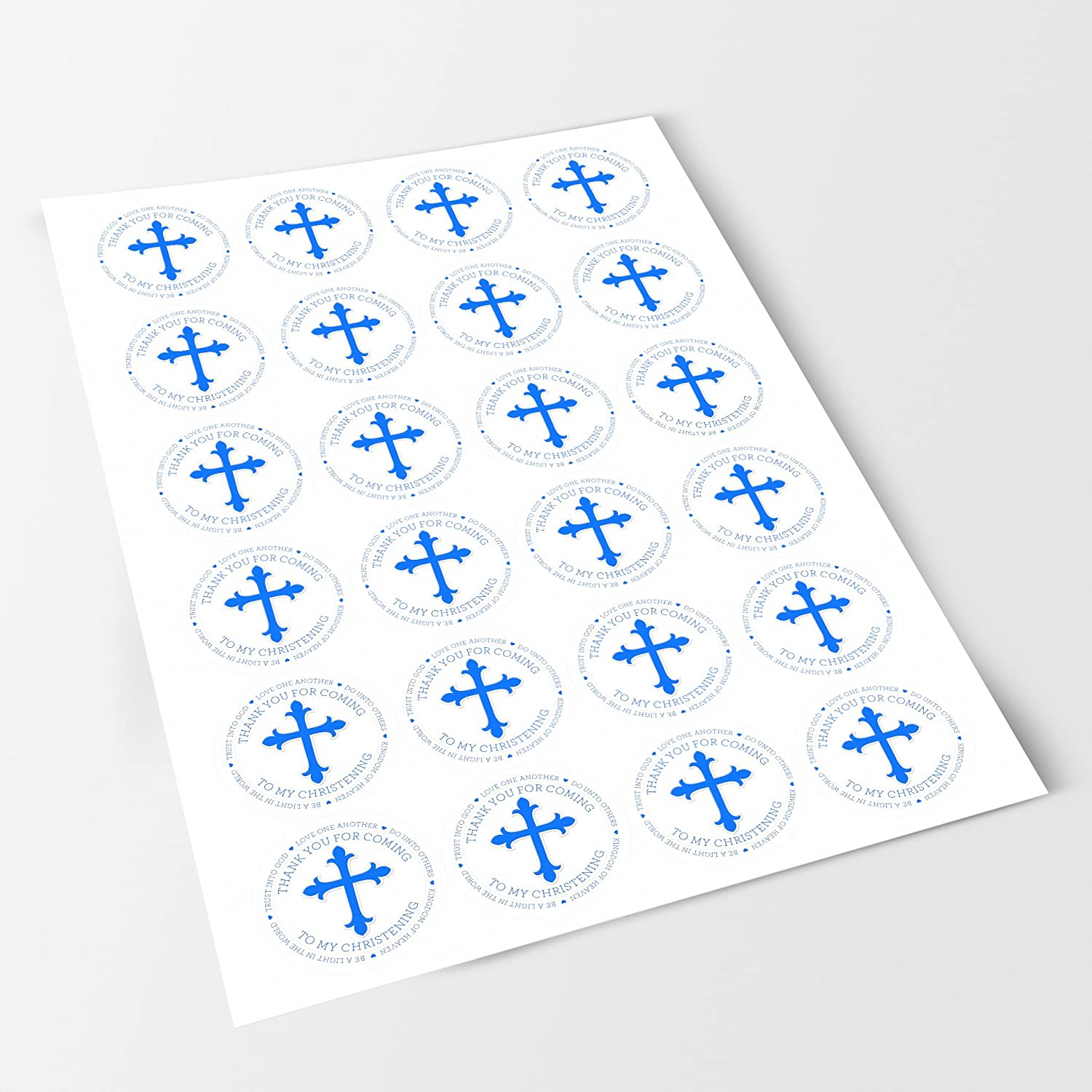 Crafts Sweet Cones 6 Stickers, 9.5cm Each Happy Christening Baptism Boy Sticker Labels Bottles Presentations Gift Boxes Jars NON PERSONALISED Seals Ideal for Party Bags Favours