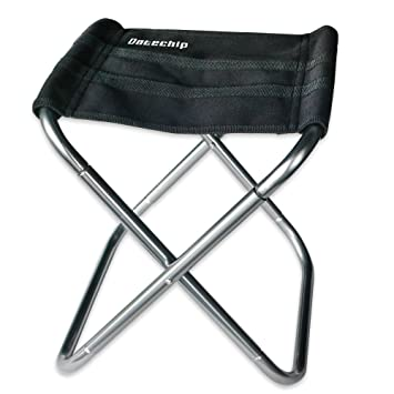 Datechip Folding Camping Aluminum Chair Small Portable Fishing Seat Lightweight Stool Compact Heavy Duty