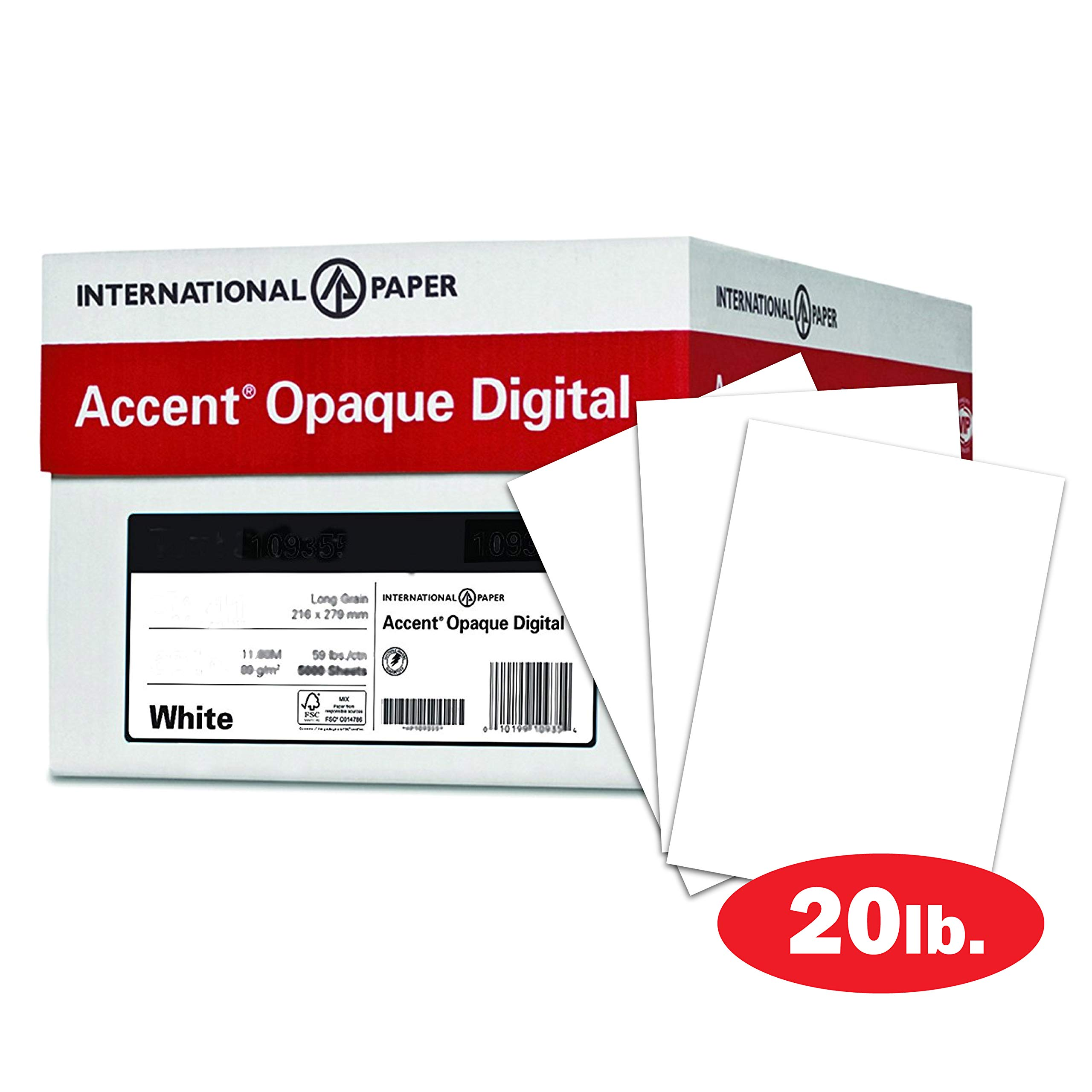 Accent Opaque, White 20lb Paper, 50lb Text, 74gsm, 12 x 18, 97 Bright, 5 Reams / 2,500 Sheets - Smooth Paper, Text Heavy Paper (188082C)