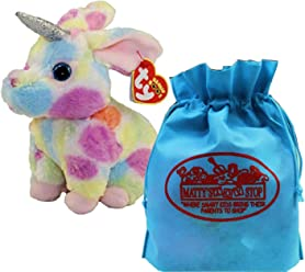 Ty Beanie Boos Fairytale Unicorn Begonia (Multi-Color Bunny) with Bonus Mattys Toy
