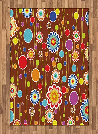 Amazon Com Lunarable Yellow And Red Area Rug Cheerful Meadow Flora