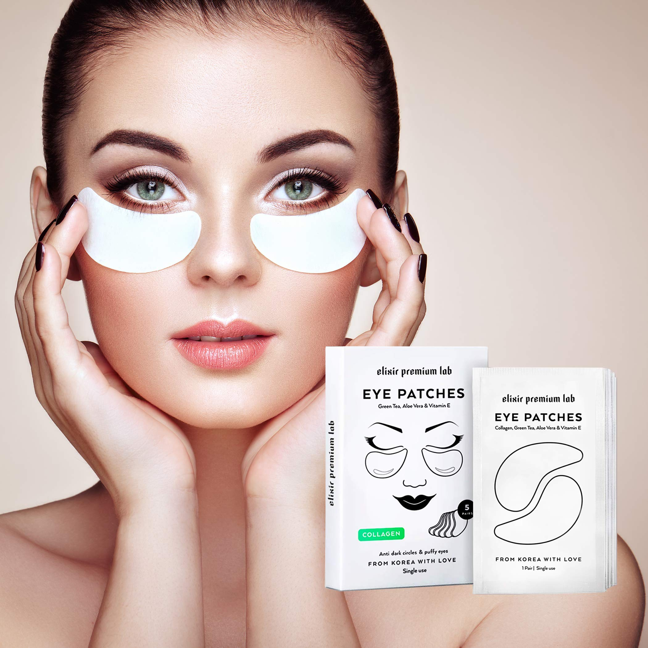 Collagen Eye Patches - Moisturizing Under Eye Pads - Anti Puffiness & Dark Circles Spa Treatment - Best Hydrogel Eye Moisturizer for Women & Men - Gel Masks for Dry Skin Under Eye Zone, 5 Pairs by Elixir Premium Lab