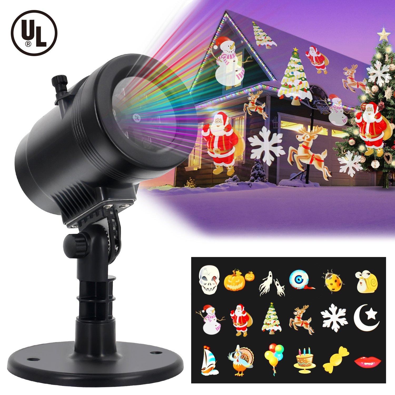 Diateklity LED Projector Light House Garden Lighting Show with 14 Festive Lights Designs for Halloween, Christmas, Waterproof & Heavy-Duty