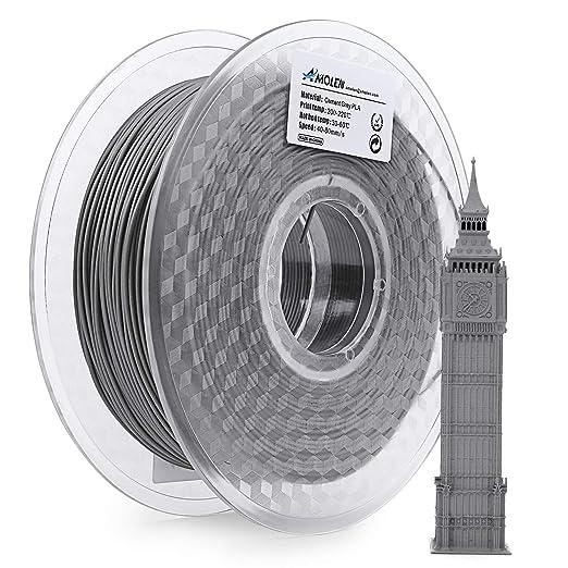 AMOLEN PLA Filamento Impresora 3D 1.75mm Cemento Gris 1KG,+/- 0.03 ...