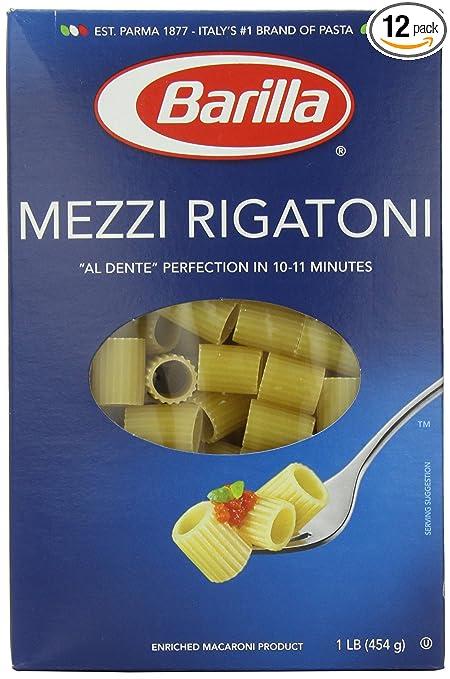 amazon com barilla pasta mezzi rigatoni 16 ounce pack of 12