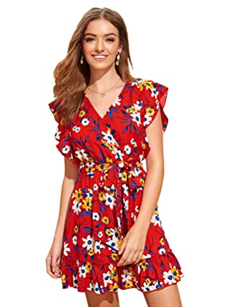 9784e6bdab Milumia Women Wrap V Neck Floral Boho High Waist Summer Ruffle Mini Dress  A-Multicolor