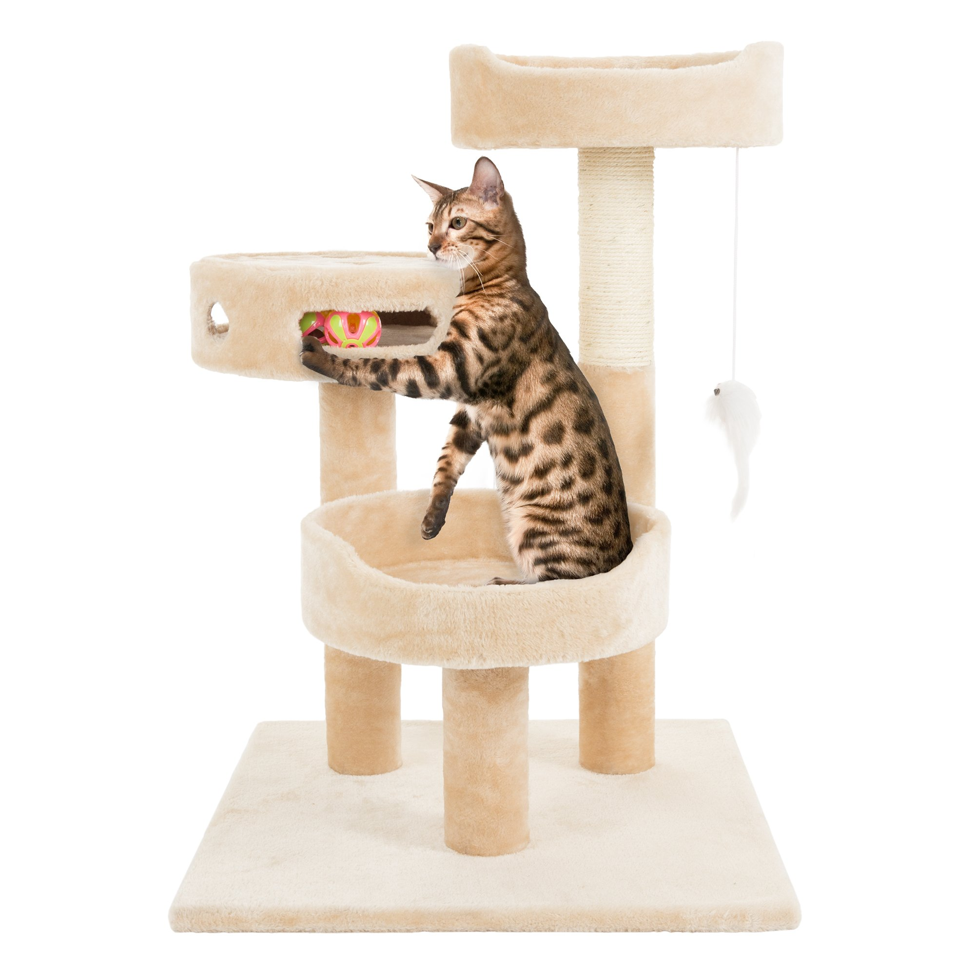 PETMAKER Cat Tree 3 Tier 2 Hanging Toys A 3 Ball Play Area and Scratching Post, 27.5'', Tan