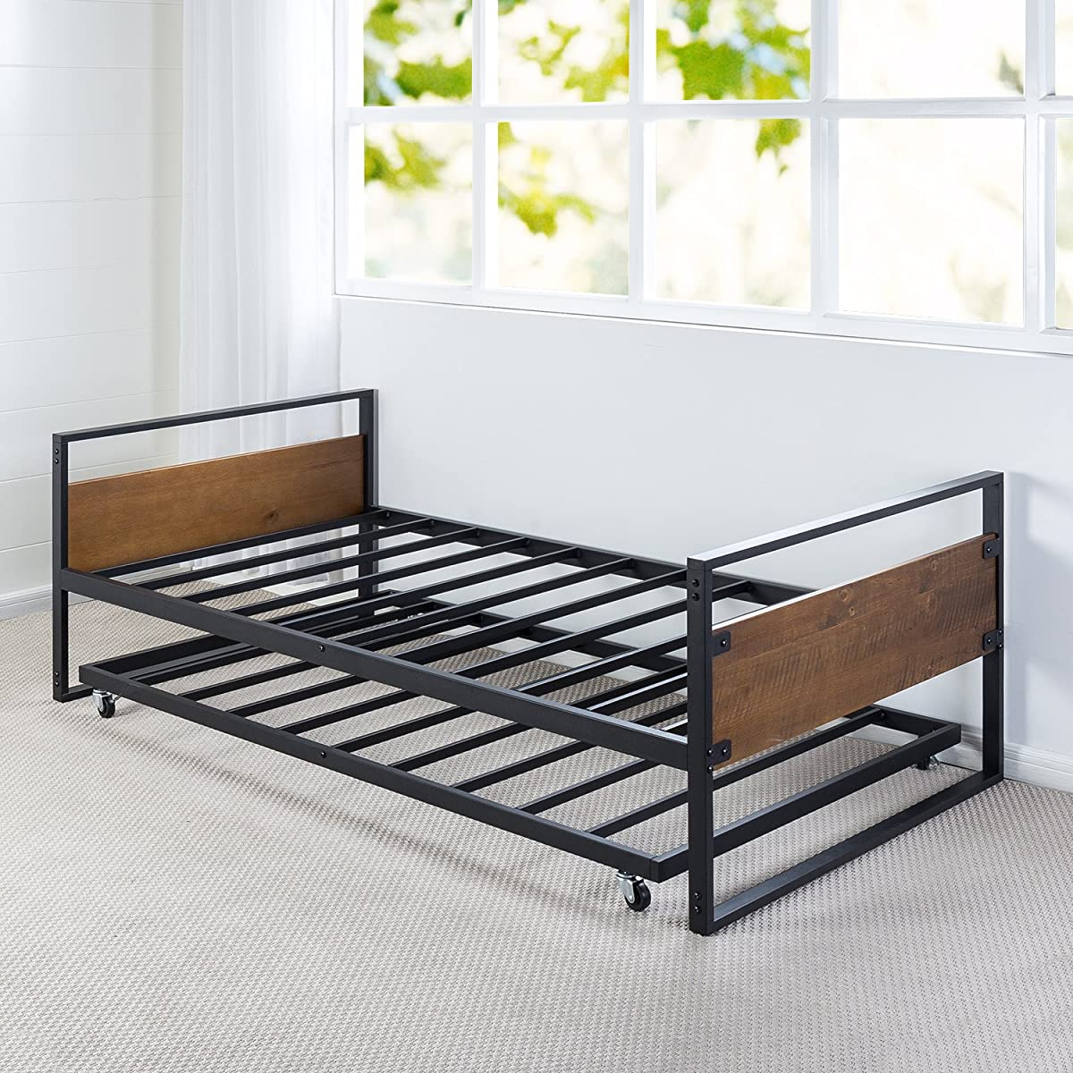Zinus Ironline Twin Daybed and Trundle Frame Set / Premium Steel Slat Support / Daybed and Roll Out Trundle Accommodate Twin Size Mattresses Sold Separately