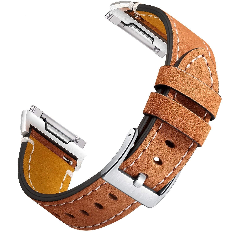 For Fitbit Ionicレザーバンド、Hotodeal最新調節可能クラシック合理化本革交換用リストバンドと金属コネクタとステッチ、一意のアクセサリーストラップレディースメンズLarge Small 5.5\ 03.Light Brown B077RTW1D8