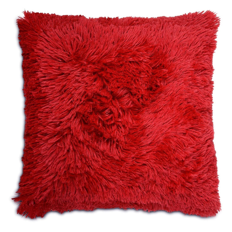 Adore Home Long Pile Soft & Cuddly Shaggy 17x17 (43x43cm) Faux Fur Cushion Cover (Chocolate)