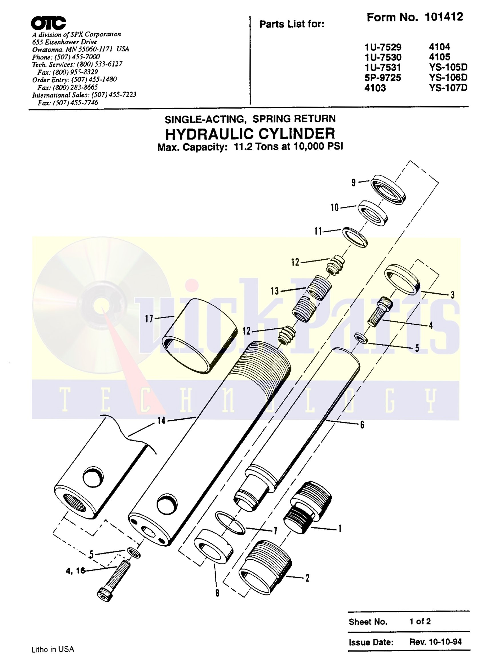 601877 Chief OTC (Power Team / SPX) Cylinder 11.2 Ton Seal Replacement Kit