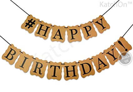 amazon com katchon brown kraft happy birthday banner no diy