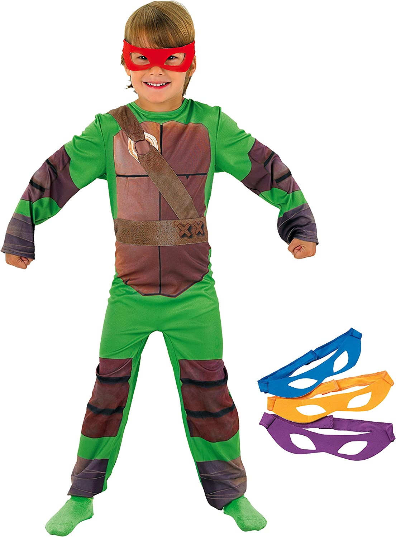 Tortugas Ninja - Disfraz de Tortuga Ninja con 4 antifaces para niño, infantil 8-10 años (Rubie's 886811-L)