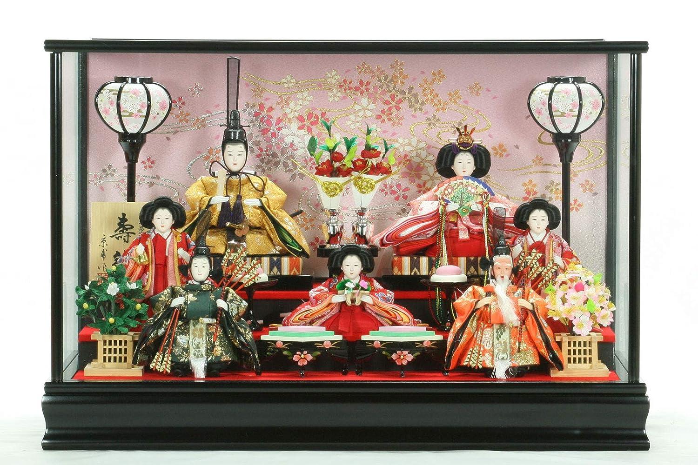 ひな人形ガラスケース入り7人飾り芥子玉 2037-131   B07MP28M73