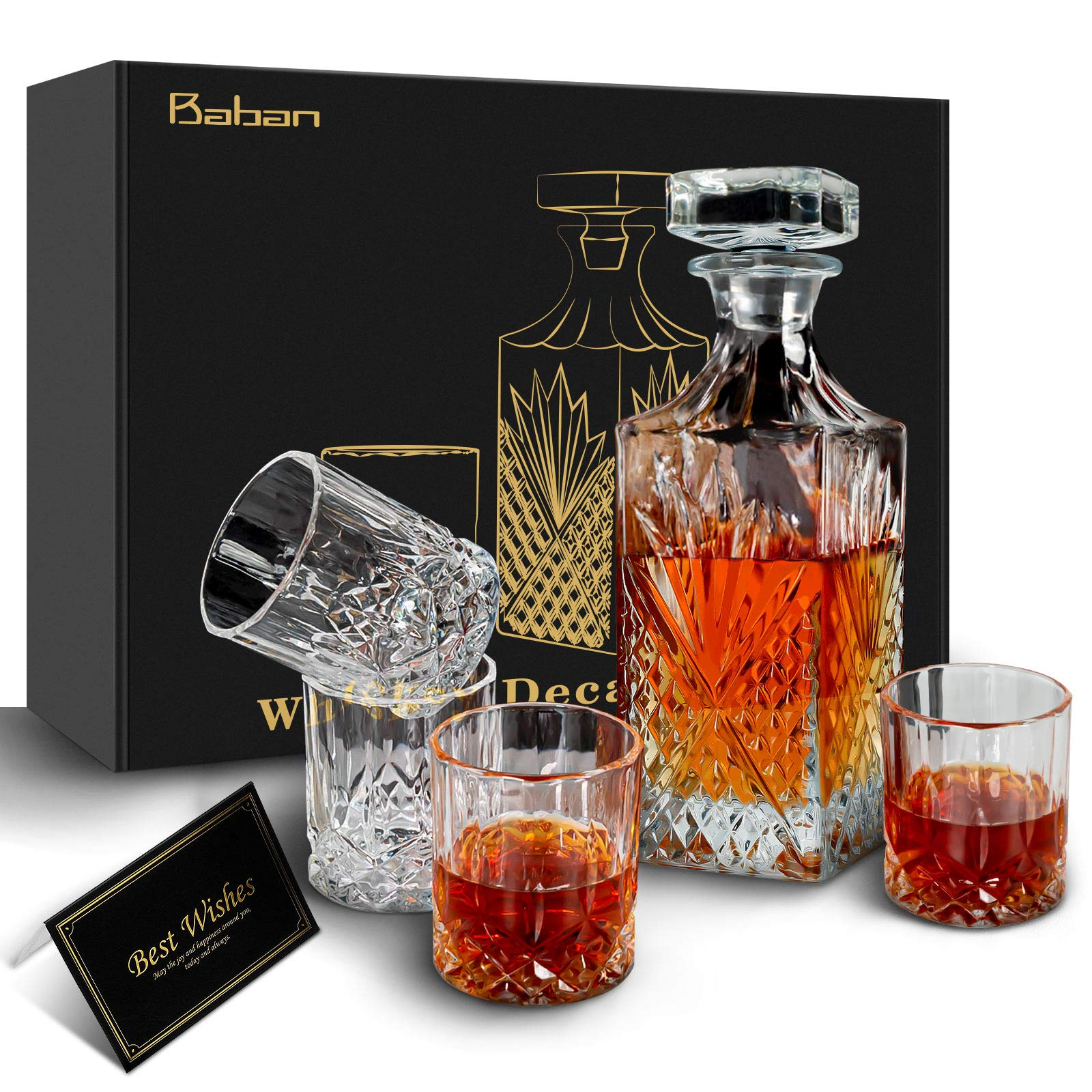 Whiskey Decanter Sets- Baban Whiskey Glass Gift Box Set 750ml Bottle and 4x310ml Whiskey Glass Elegant Decoration, Gifts for Whiskey Lovers Father Husband Boyfriend,Valentine's Day