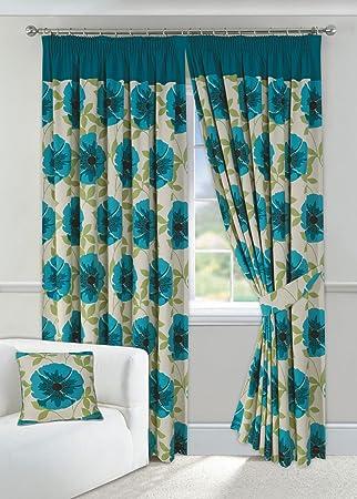 Poppy Teal Lined Half Panama Curtains (Pair) 46